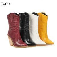 botines de tacón grueso blanco al por mayor-Las mujeres de cuero botas de vaquero occidental del tobillo botas de alto gruesos tacones altos rojo de la motocicleta Negro Amarillo Blanco