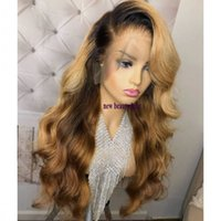 Wholesale synthetic brazilian wave for sale - Group buy Free part body wavy B Ombre blonde synthetic lace front wig heat resistant lace Pre Plucked Brazilian Wigs With Baby Hair