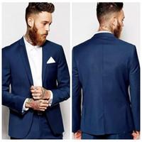 erkekler için zarif smokinler toptan satış-Zarif Erkekler Damat Smokin 2020 Blazers Erkek Takım Elbise Custom Made Groomsmen Balo Parti Giyim (Ceket + Pantolon)