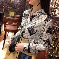 blusa tops designs venda por atacado-2019 primavera outono novo logotipo letra gato impressão turn down collar manga longa moda design chiffon blusa camisa topos