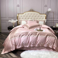 Wholesale ruffled pillowcases for sale - Group buy new Court style European Style Luxury Egyptian cotton Brand pink girls Bedding set King Queen Size Duvet Cover Bed sheet Pillowcases