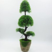bäume anzeigen groihandel-Künstliche Kiefer Bonsai-Baum für Hauptdekoration Blumendekor Simulation Pflanze Artificiais Desktop Display-Fälschungs-Pflanzen