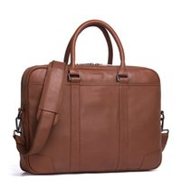 сумки из натуральной кожи оптовых-100% Genuine  Leather Briefcase Men Bag Business Handbag Male Laptop Shoulder Bags Tote Natural Skin Men Briefcase