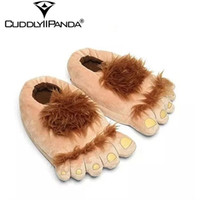 plüsch füße hausschuhe groihandel-2019 Winter-Pelz Abenteuer Pantoffeln Frauen Hauspantoffeln Big Feet Hairy Halloween Pantufa Monster Hobbit Feet Plüsch Slippers Y200706