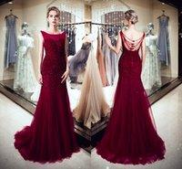 vestidos formales de vino oscuro al por mayor-Elegantes Vestidos Rojo Oscuro Cuello Redondo Espalda Abierta Rebordear Sirena Vino Tul Rojo Largo de Baile Formal Vestidos de Noche Vestidos de Fiesta de Mujer DH4278