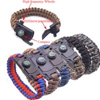 Wholesale chain gear set resale online - 2019 Multi functional Outdoor Bracelet Camping Hiking Survival Gear Escape Multi Tool Paracord High frequency Whistle Knife Bracelet