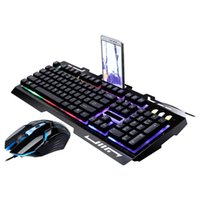 combo de teclado de ratón con cable usb al por mayor-G700 Rainbow Color Led Retroiluminación Gaming Keyboard Mouse Combos Usb Wired Keyboard Mouse Set PC Portátil Negro Blanco Combos L0306 T190624
