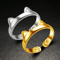 ingrosso codice anello-Platino Anelli Carino Totoro Open Code Imitazione 925 anelli in argento sterling Colore Argento Gioielli all'ingrosso Cat Ear Ring