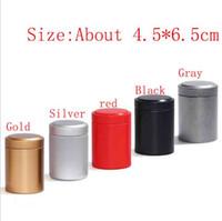 Wholesale mini tea case resale online - Mini Metal Round Pill Box Holder Advantageous Container Storage Case Waterproof Tobacco Tea Cans Stash colors Sale