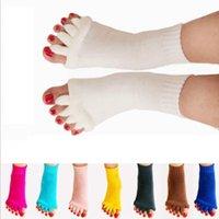 calcetines con punta abierta al por mayor-Alineación del pie Masaje del calcetín Separador de dedos abiertos Cinco Yoga GIMNASIO Deportes Cuidado de la salud Calcetines deportivos KKA6411