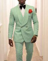 ingrosso la festa indossa i vestiti degli uomini-Abiti da festa da uomo Smoking da sposa verde menta Abito da ballo 2020 Abiti da sposo due pezzi Trim Fit Abito da festa da uomo Abiti da sposo su misura