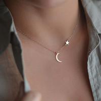 estrela da lua colares venda por atacado-Europa e nos Estados Unidos novas explosões simples estrelas lua colar jóias selvagens