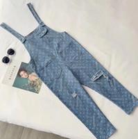 ingrosso ragazze buche pantaloni-Moda donna vintage designer di lusso foro dritto jeans pantaloni ragazze jacquard pantaloni lunghi pista femminile pantaloni da cowboy di fascia alta di marca di fascia alta