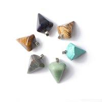 imagens de jasper stones venda por atacado-Colar de Pedra Natural Pingente 34 * 24mm encantos Pyramid Pendulum pingente de ágata turquesa Imagem Jasper Aventurite Pedra Jóias