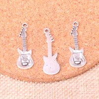 Wholesale tibetan guitar for sale - Group buy 71pcs Charms electic guitar mm Antique Making pendant fit Vintage Tibetan Silver DIY Handmade Jewelry