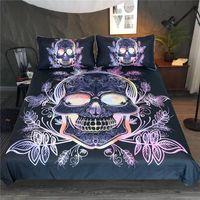 conjunto de cama deixa venda por atacado-Gótico do crânio cama Set Leaves 3pcs Paisley edredon cobrir Set rosa Bedclothes roxo floral à moda Home Textiles