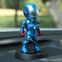 ingrosso bobble testa bambole-Marvel Avengers 5 pollici Iron Man alimentato solare Azione Bobble-Head Relax giocattolo per la casa dell'automobile Office.Shake testa Toy 12 centimetri