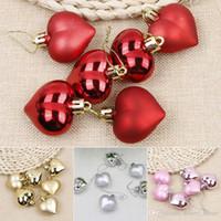 ingrosso decorazioni rosa di forma cuore-4 colori 6 pezzi Natale appeso decorazione a forma di cuore alberi di natale oggetti di scena ornamenti festa di nozze decorazioni per la casa Mayitr vendita calda