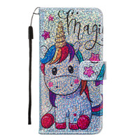 Wholesale drop proof phone for sale – best Unicorn wallet phone case for Huawei p20 lite Nova5i drop proof bling glitter butterfly flap with lanyard support leather case