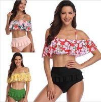 Wholesale wholesale high fashion swimwear online - Swimwear High Waist Bikini Sexy Swimsuit Women Clothes Fashion Slim Bathing Suits Summer Biquini Print Beachwear Bras Panties Tankini B4157