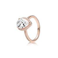 gold reißen großhandel-Luxus 18 Karat Roségold Tear Drop Trauringe Original Box für Pandora 925 Sterling Silber Tränen Wassertropfen Diamant Ring Set für Frauen