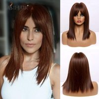 Wholesale dark brown medium length wig for sale - Group buy EASIHAIR Medium Length Dark Red Brown Straight Layered Synthetic Wigs With Bang Heat Resistant Cosplay Lolita Wig for Women Afro