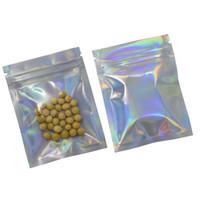 Wholesale plastic lock wires resale online - 7 cm Laser Aluminum Foil Zip Lock Packaging Bags Front Clear Plastic Mylar Foil Drysaltery Scented Tea Packing Pouch