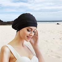 siyah likralı kumaş toptan satış-2019 Seksi Yüzme Kap Bayan Uzun Saç Swim Şapka Açık hava etkinlikleri Katı Kap Banyo Örtüsü Streç Spor Sahil Fold Kızlar