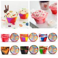 silikon kalıp kekleri toptan satış-12 adet / takım Silikon Kek Kalıpları Kek Pişirme Kalıp Kamuflaj Silikon Kullanımlık Isıya Dayanıklı Kek Fincan Bakeware Kalıpları Mutfak Aletleri HHA584