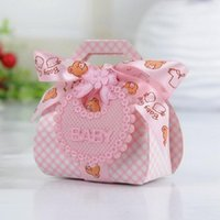 Wholesale baby bear favor boxes resale online - Bear Shape DIY Gift Christening Baby Shower Party Favor Boxes Paper Candy Box with Bib Tags Ribbons