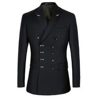 Handsome Double-Breasted Groomsmen Peak Lapel Groom Tuxedos Men Suits Wedding Prom Dinner Man Blazer(Jacket+Pants+Tie) B165