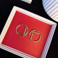 brincos indianos frete grátis venda por atacado-Top material de latão oco redondo e forma de F Brinco para mulheres presente jóias 18 k banhado a ouro frete grátis PS5742