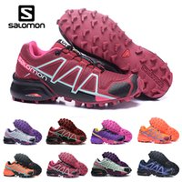 Wholesale sport fences resale online - Women Salomon Speed Cross IV CS dark red pink purple Outdoor Shoes Breathable woman Athletics Mesh Fencing Shoes sports sneaker