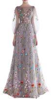 ingrosso nuovi vestiti alla moda di promenade-2018 Nuove donne maniche lunghe Prom Dresses Trendy ricamo floreale abiti da sera a-line Abiti da cerimonia formale Abiti da spettacolo Vestios De Novia