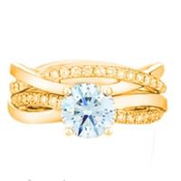 муассанит желтое золото оптовых-1ctw 6.5 мм G-H Moissanite Set кольца Чарльз КОЛВАРД желтого золота цвет стерлингового серебра 925 женские синтетические бриллианты кольцо
