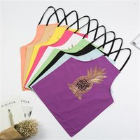 Wholesale cleaning aprons resale online - Ins Gilding Aprons Printing Pineapple Patterns Prevent Water Oil Apron Home Furnishing Kitchen Clean Overalls New Arrival hl L1