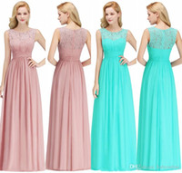 Wholesale dresses for summer beach wedding resale online - Cheap Bridesmaids Dresses For Summer Boho Beach Weddings A Line Lace Chiffon Floor Length Wedding Guest Gowns CPS1067