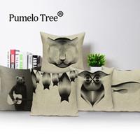 preto travesseiro animal venda por atacado-Black Bear Pillow Retro animal Almofada decorativa Almofadas Covers presentes fronha Almofadas para o sofá Elephant Lance