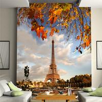 la construction de la tour eiffel achat en gros de-Classique Fantaisie Rétro Bâtiment Tour Eiffel pour Canapé chambre à coucher Fond chaud Peinture Murale Porche Couloir Papier Peint