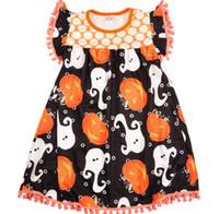 3t vestidos de férias venda por atacado-Meninas do bebê Vestido De Abóbora Imprimir Design Boutinque Vestido Sem Mangas Princesa Vestido de Verão Floral Perfeito para o Feriado Do Dia Das Bruxas e Festa