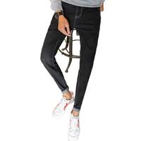 корейские мужчины карандашные джинсы оптовых-Man Large-size fashion Korean version leisure style men's trousers small-footed pencil pants mens skinny jeans