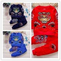 4t девочек свитера оптовых-Детская мода мультфильм тигр новая мода мальчик девочка свитер шею с длинным рукавом детская одежда мальчик набор 24M-4T