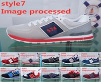 correr coreano al por mayor-Zapatos para hombre de la marca de EE. UU. Zapatos para correr presidentes Logotipo de la letra N Zapatillas de deporte transpirables Versión coreana femenina de zapatos casuales salvajes