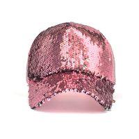 sombreros de lentejuelas negro al por mayor-Nueva Moda Casual de Lentejuelas Snapback Gorra de Béisbol Sombrero de Béisbol Ajustable Mujeres Verano Primavera Negro Rosa de Oro Caps al aire libre