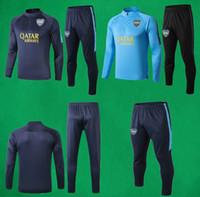 futebol qualidade tailandesa azul venda por atacado-19 20 Boca Juniors Treino de Futebol Profundo Azul Camisola Calças Homens Completo Manga Terno de Treinamento de Futebol Boca Thai Qualidade Camisola Longa Pant
