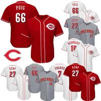ingrosso maglia di matt kemp-Cincinnati 66 Yasiel Puig 27 Matt Kemp 19 Joey Votto 7 Eugenio Suarez 16 Tucker Barnhart Jersey baseball