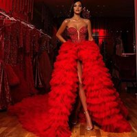 Wholesale slit red carpet resale online - Red High Slit Evening Dresses Sweetheart Beading Sequined Arabic Dubai Formal Prom Gowns Tiered Sweep Train Special Occasion Dress
