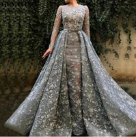 Wholesale inverted triangle wedding dresses resale online - Full Sleeves Evening Dresses With Detachable Train Appliques Lace Sheath Prom Dress Illusion Mother Dress For Wed