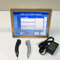 máquina analizadora de cabello al por mayor-Analizador de piel portátil 2en1 máquina pelo Análisis de piel Salón de belleza Equipo facial Analizador de escáner de piel con luz UV