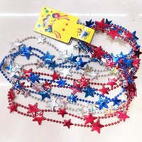 plastikperlenketten großhandel-80cm Star Bead Kunststoff Halskette Independence Day Star Perlen Halskette amerikanische Flagge Farbe Dekoration 4. Juli Karneval Party Favor